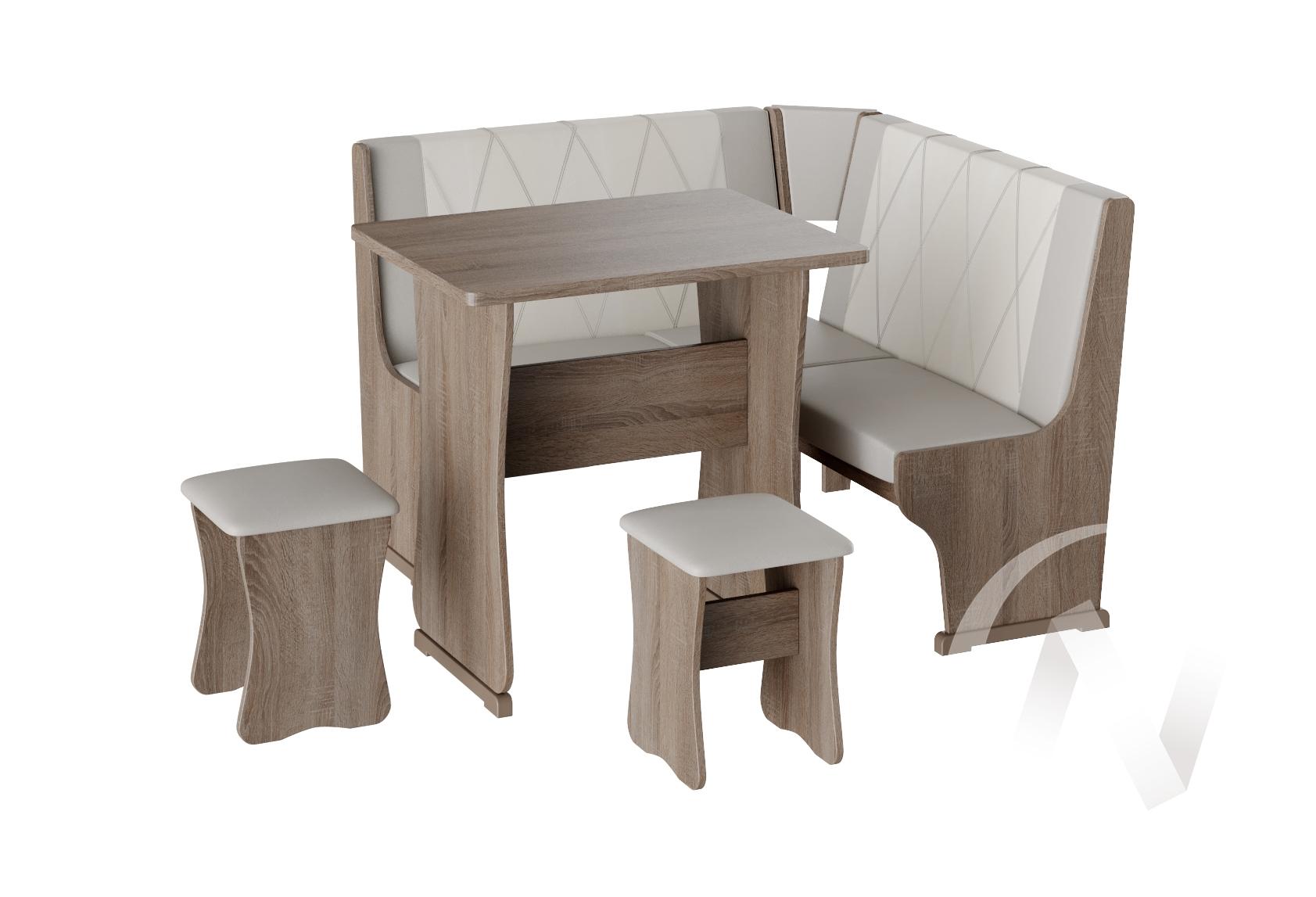 Кухонный уголок Гамма мини тип 2 кожзам (дуб сонома трюфель/серый,белый)  в Томске — интернет магазин МИРА-мебель