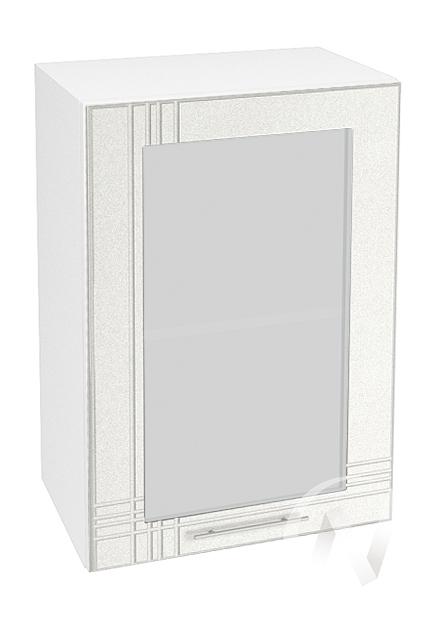 """Кухня """"Струна"""": Шкаф верхний со стеклом 500, ШВС 500 (белый металлик/корпус белый)"""
