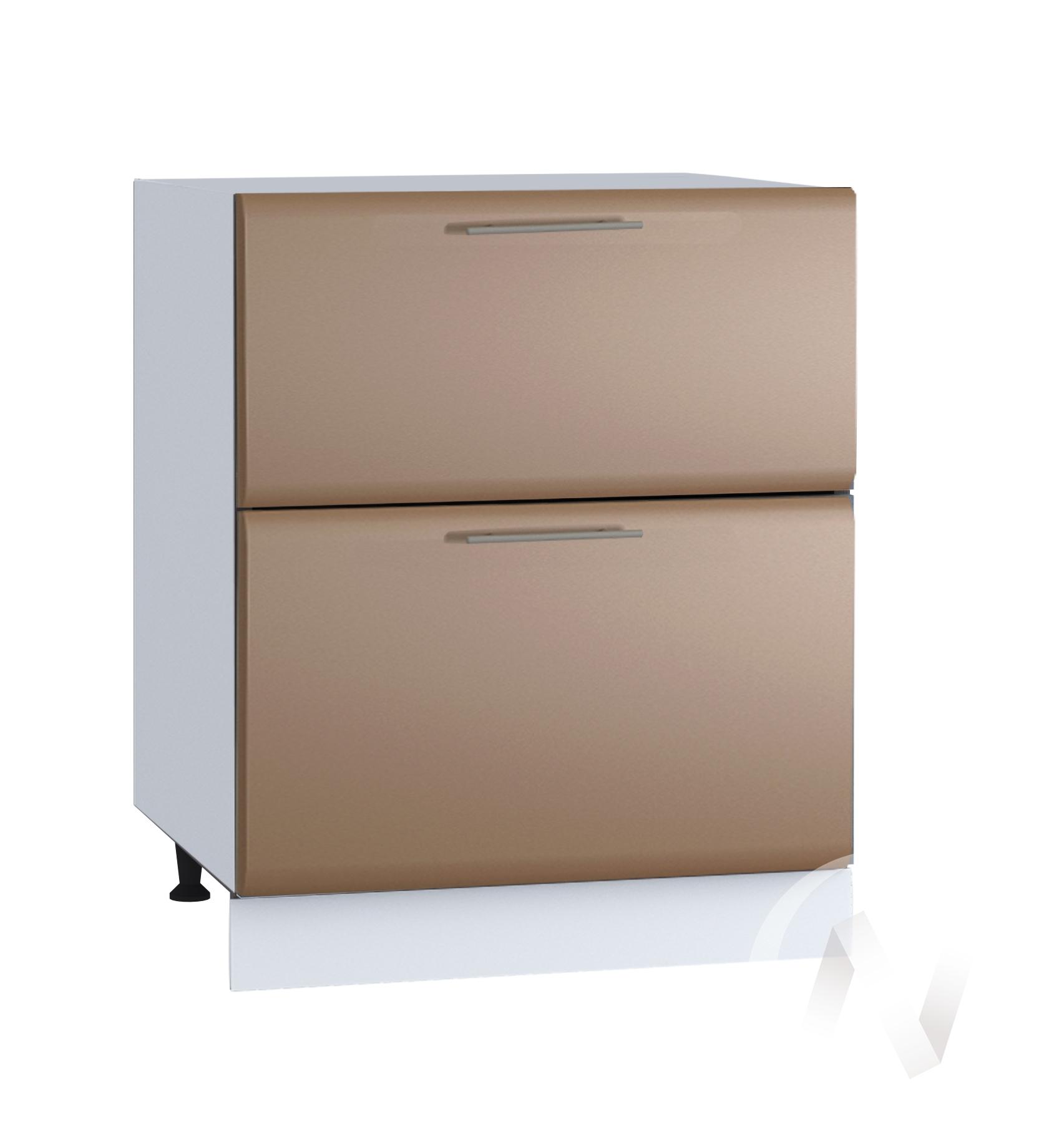"""Кухня """"Люкс"""": Шкаф нижний с 2-мя ящиками 600, ШН2Я 600 (Шоколад матовый/корпус белый)"""