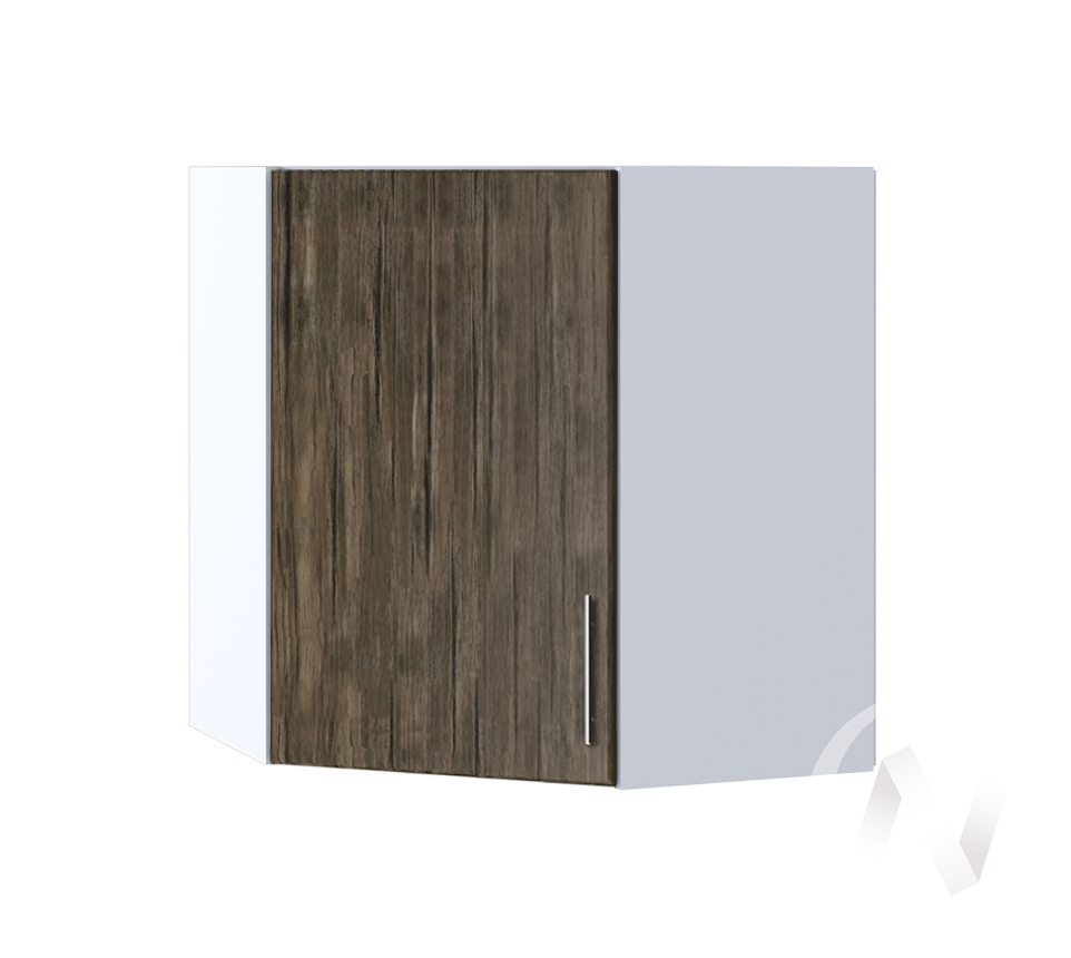 """Кухня """"Норден"""": Шкаф верхний угловой 590, ШВУ 590 (старое дерево/корпус белый)"""