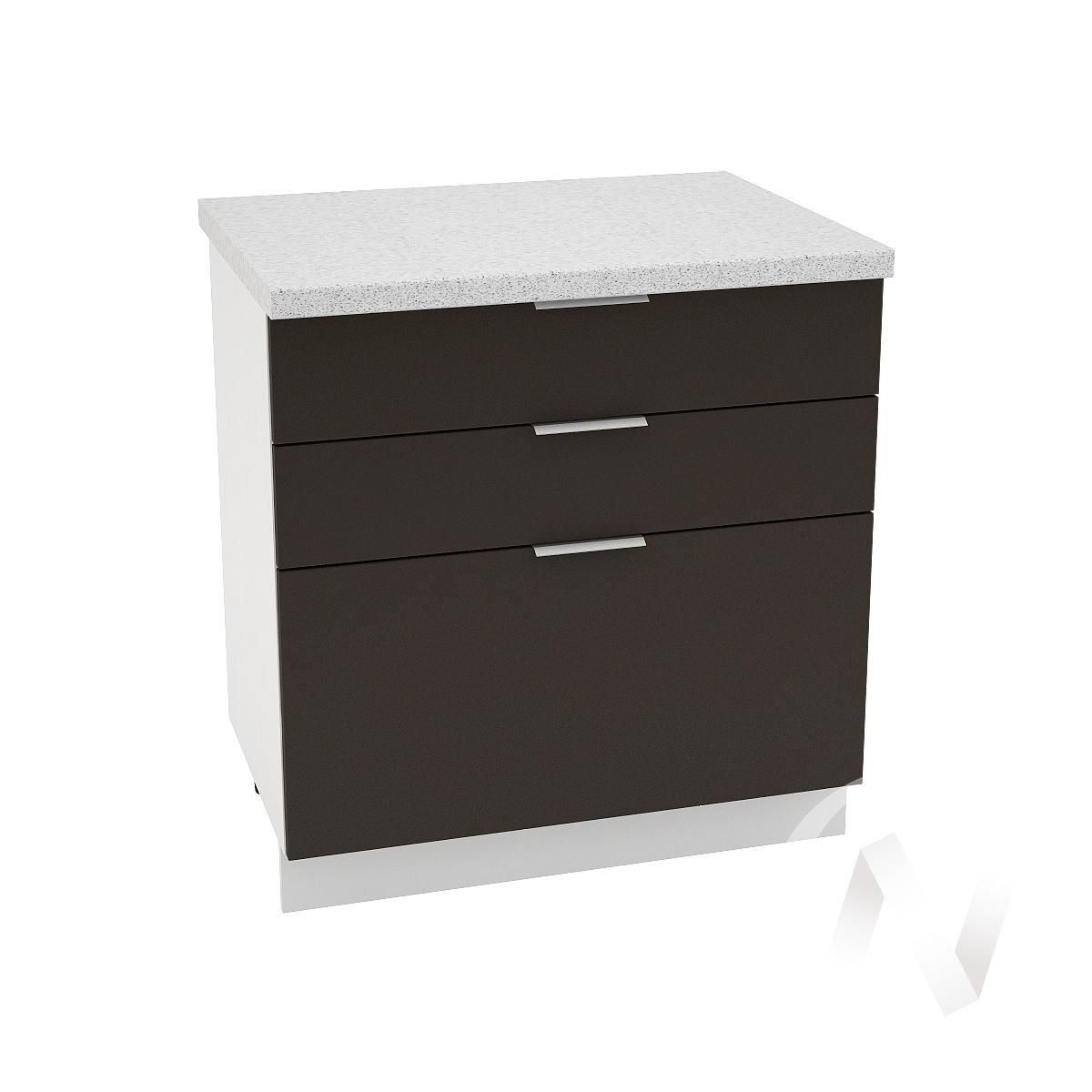"Кухня ""Терра"": Шкаф нижний с 3-мя ящиками 800, ШН3Я 800 (смоки софт/корпус белый)"