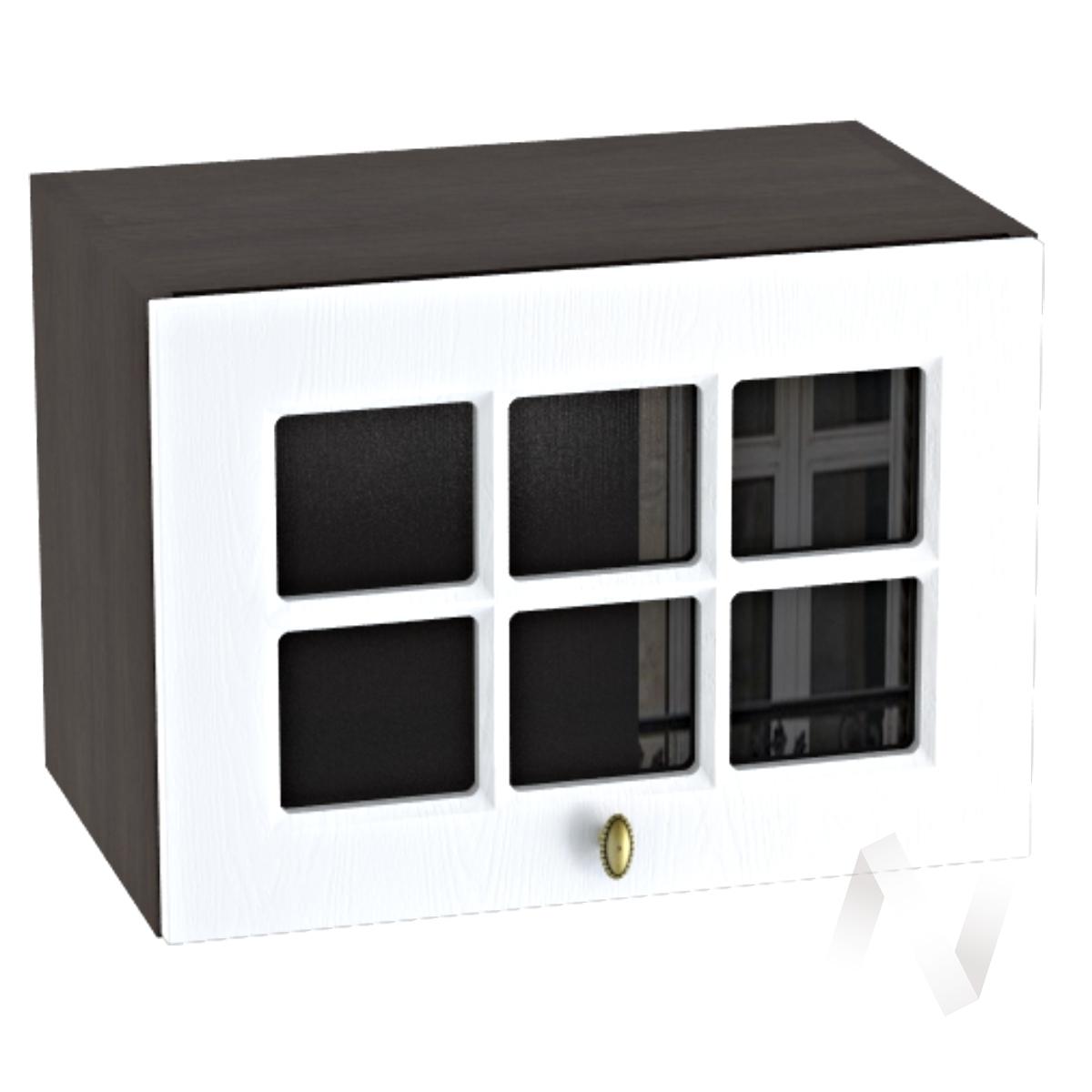 """Кухня """"Прованс"""": Шкаф верхний горизонтальный со стеклом 500, ШВГС 500 (белое дерево/корпус венге)"""