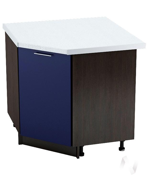 """Кухня """"Валерия-М"""": Шкаф нижний угловой 890, ШНУ 890 (Синий глянец/корпус венге)"""