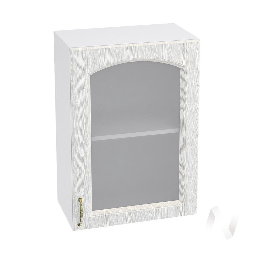 """Кухня """"Верона"""": Шкаф верхний со стеклом 500 правый, ШВС 500 (ясень золотистый/корпус белый)"""