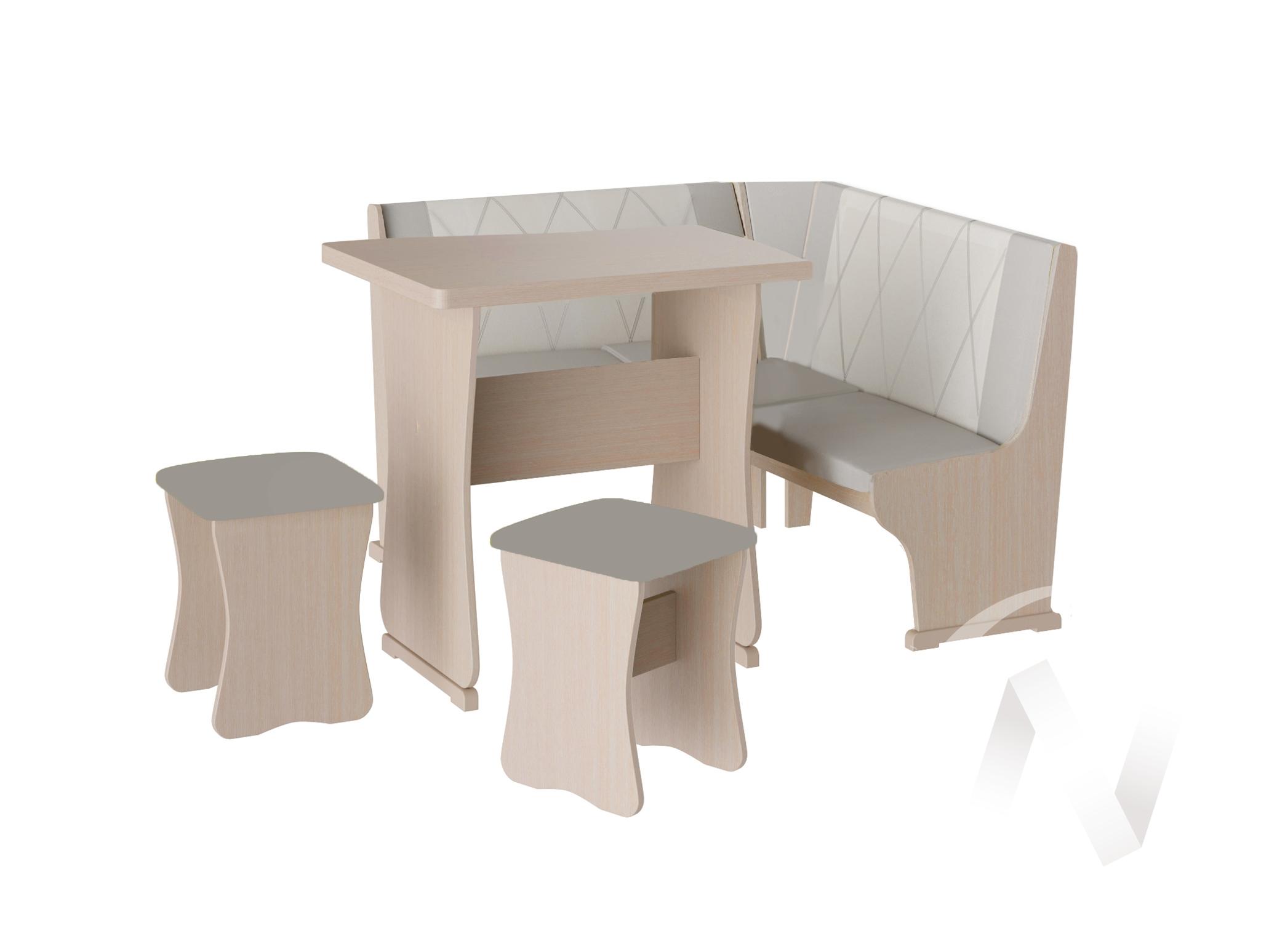 Кухонный уголок Гамма мини тип 2 кожзам (дуб молочный/серый,белый)  в Томске — интернет магазин МИРА-мебель