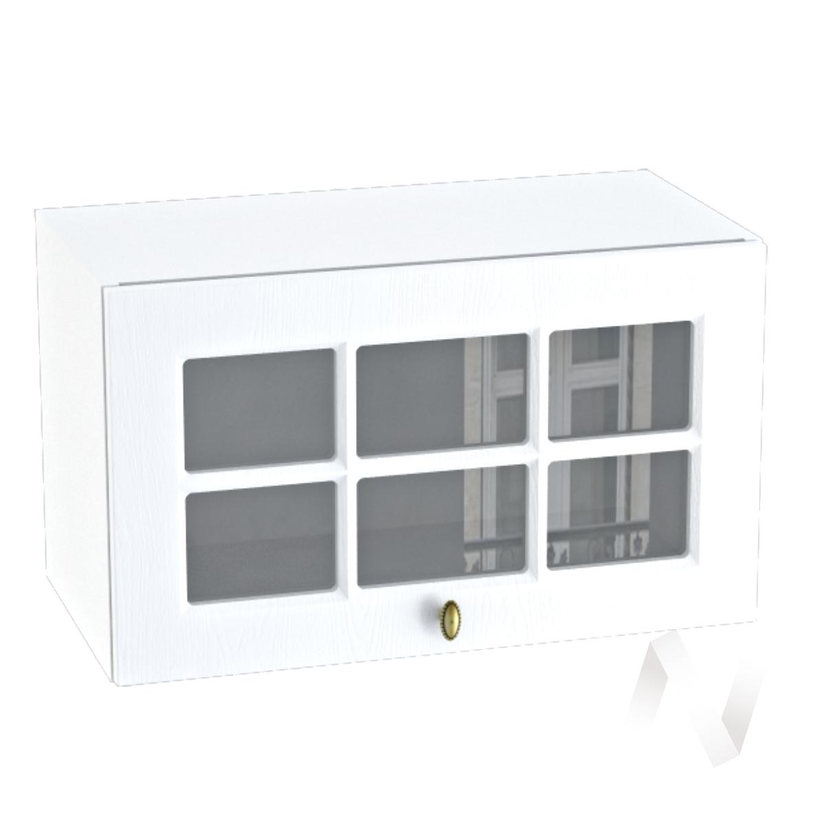 """Кухня """"Прованс"""": Шкаф верхний горизонтальный со стеклом 600, ШВГС 600 (белое дерево/корпус белый)"""