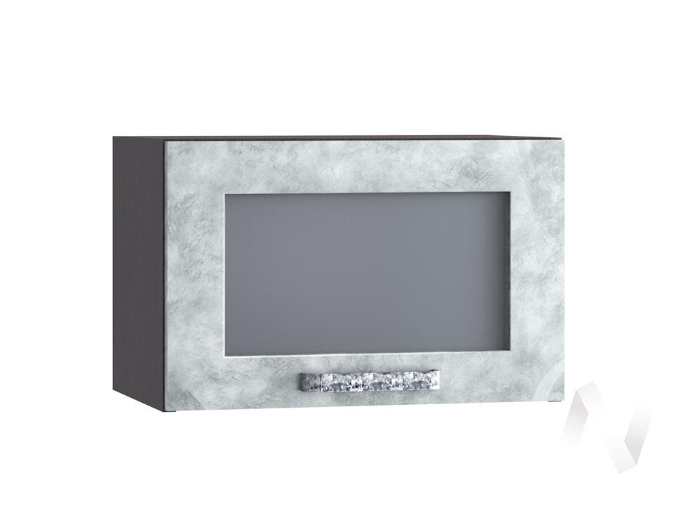 """Кухня """"Лофт"""": Шкаф верхний горизонтальный со стеклом 500, ШВГС 500 (Бетон серый/корпус венге)"""
