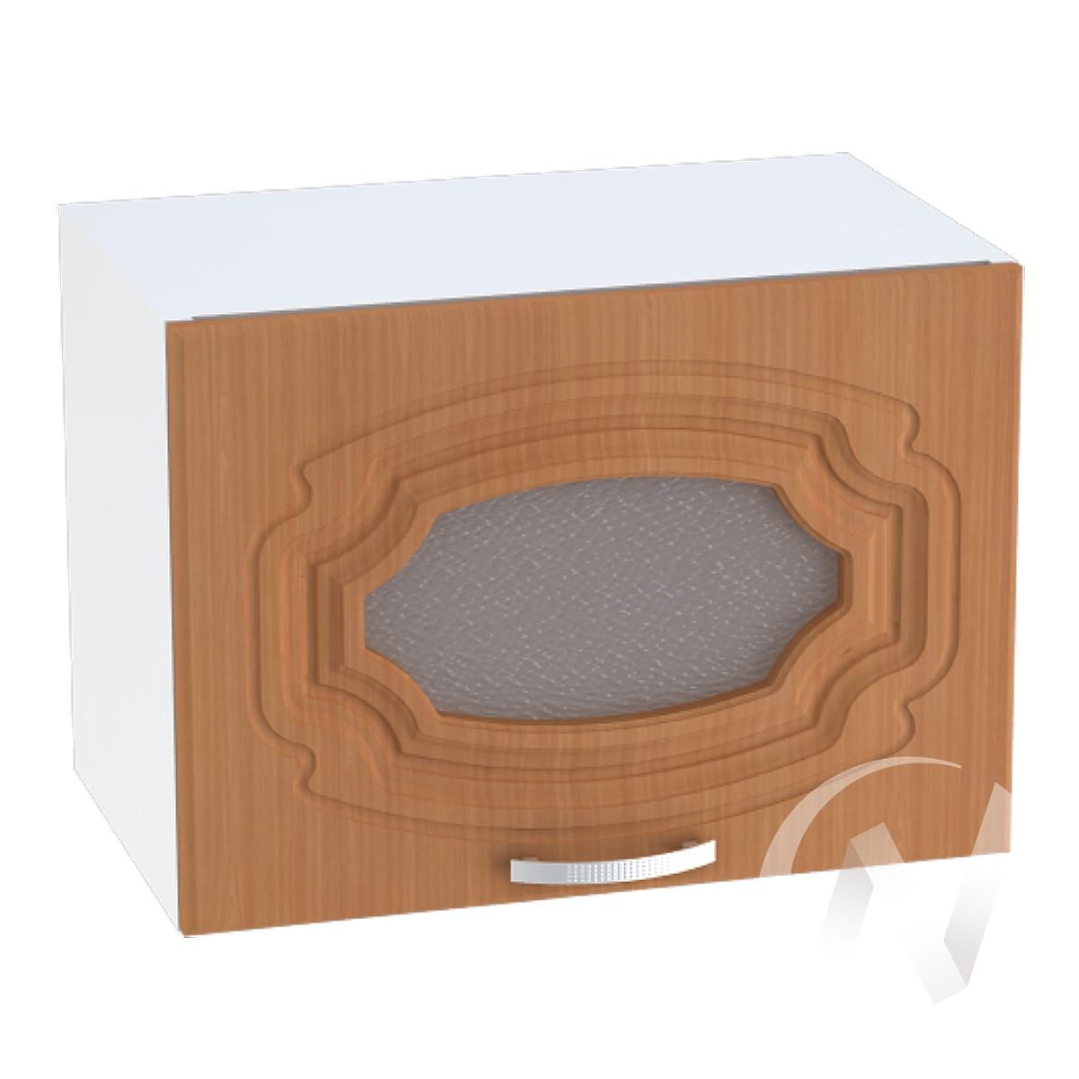 """Кухня """"Настя"""": Шкаф верхний горизонтальный со стеклом 509, ШВГС 509 (Орех миланский/корпус белый)"""