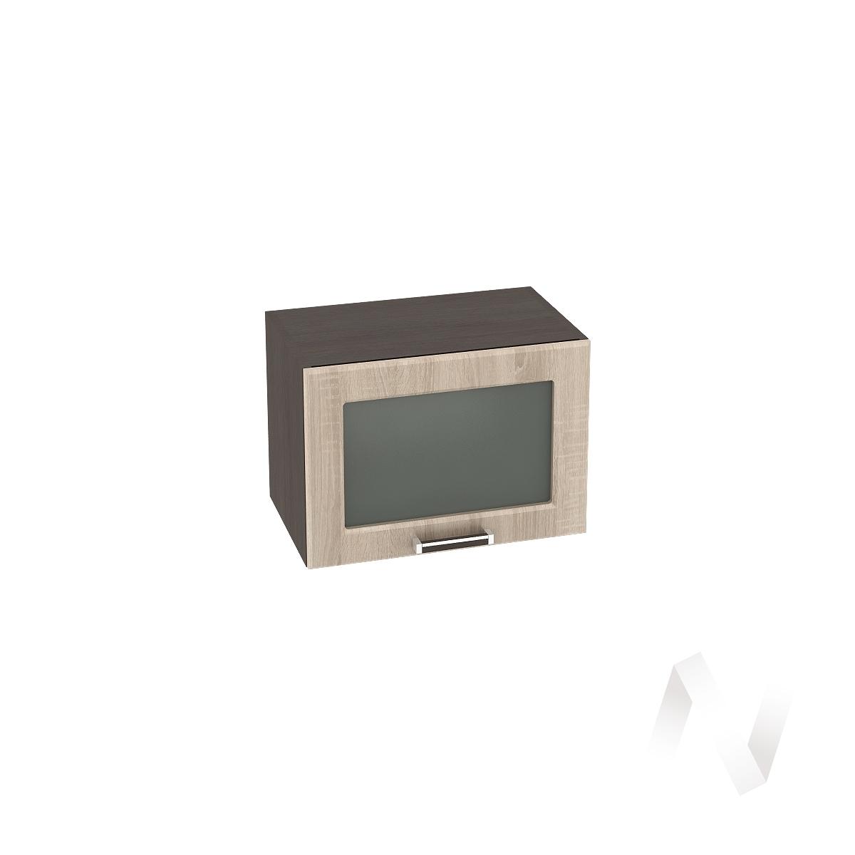 """Кухня """"Прага"""": Шкаф верхний горизонтальный со стеклом 500, ШВГС 500 (дуб сонома/корпус венге)"""