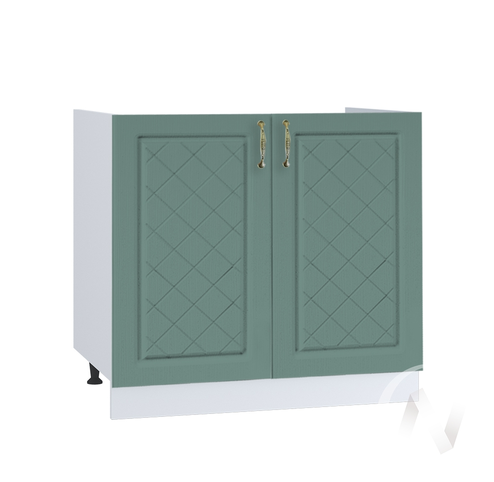 "Кухня ""Селена"": Шкаф нижний под мойку 800, ШНМ 800 (Дуб бирюзовый/корпус белый)"
