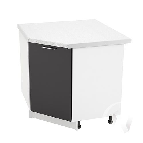 """Кухня """"Валерия-М"""": Шкаф нижний угловой 890, ШНУ 890 (черный металлик/корпус белый)"""