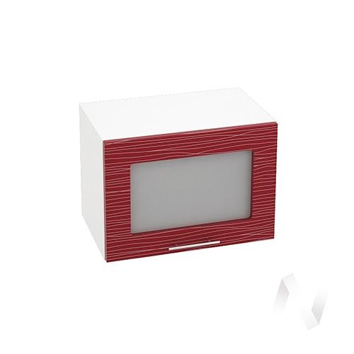 """Кухня """"Валерия-М"""": Шкаф верхний горизонтальный со стеклом 500, ШВГС 500 (Страйп красн./корпус белый)"""