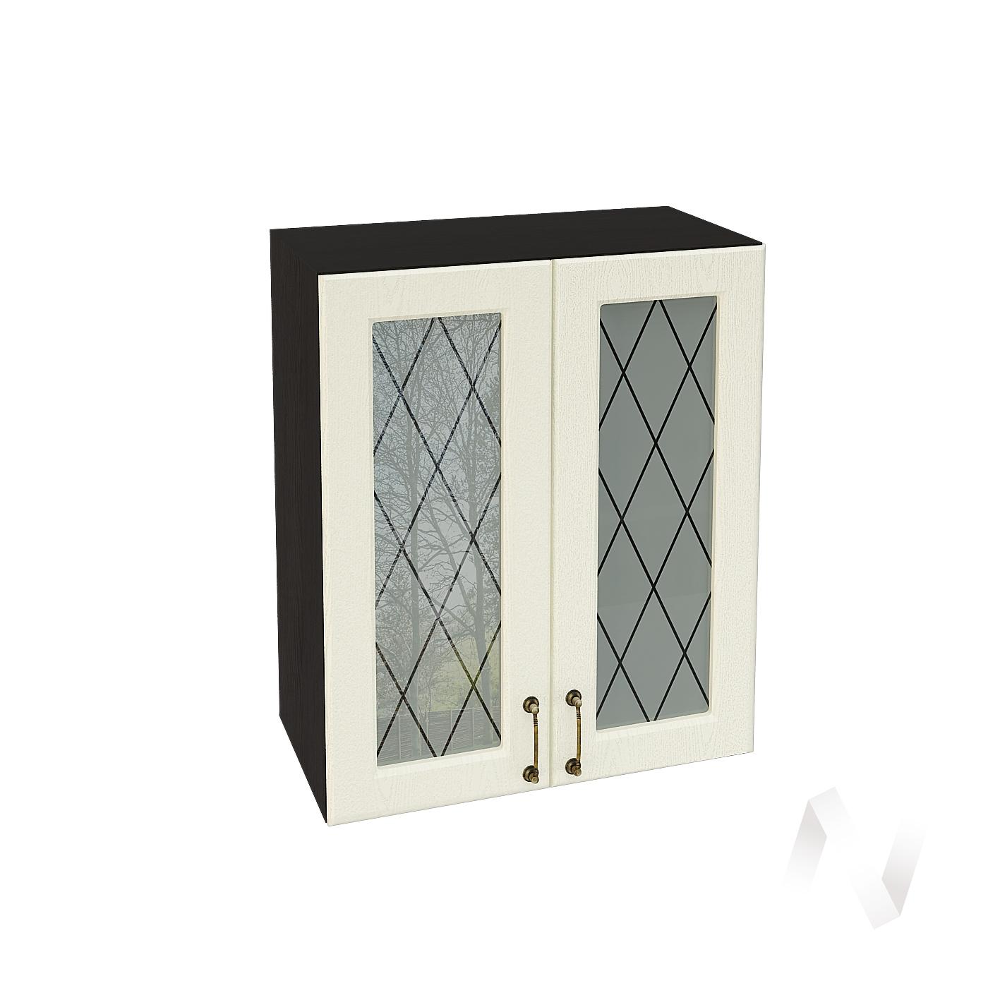"""Кухня """"Ницца"""": Шкаф верхний со стеклом 600, ШВС 600 (Крем/корпус венге)"""