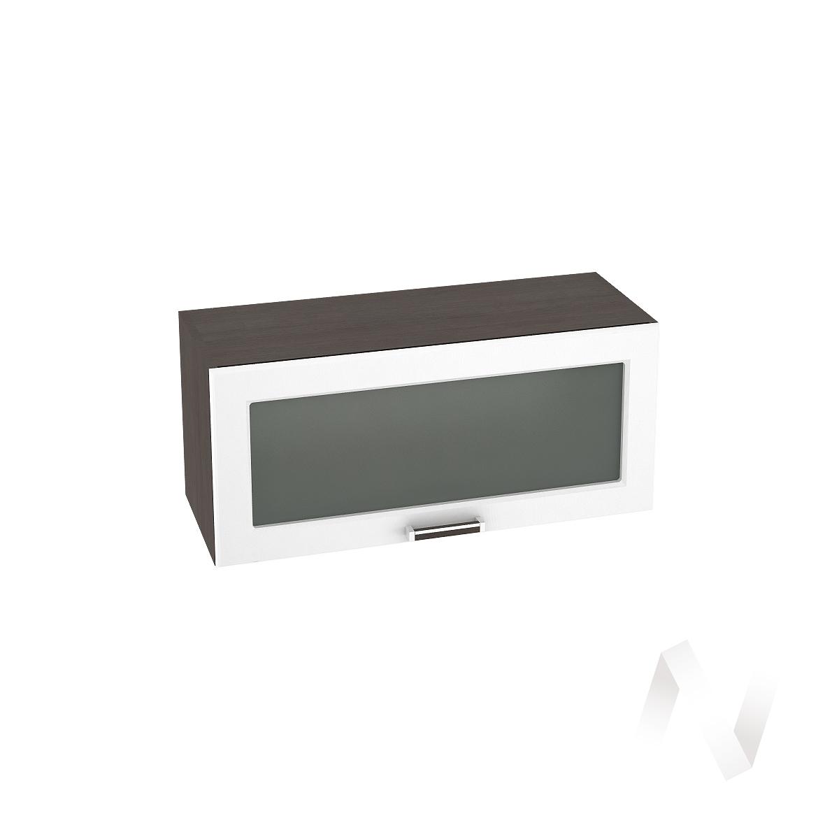 """Кухня """"Прага"""": Шкаф верхний горизонтальный со стеклом 800, ШВГС 800 (белое дерево/корпус венге)"""