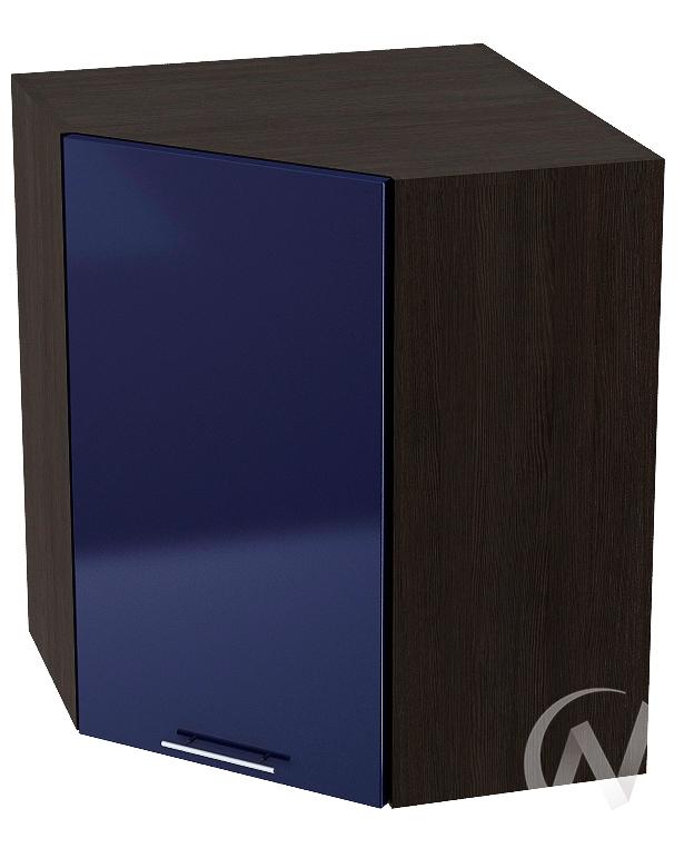 """Кухня """"Валерия-М"""": Шкаф верхний угловой 590, ШВУ 590 (Синий глянец/корпус венге)"""