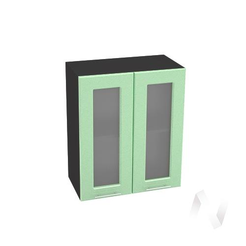 """Кухня """"Вега"""": Шкаф верхний со стеклом 600, ШВС 600 (салатовый металлик/корпус венге)"""