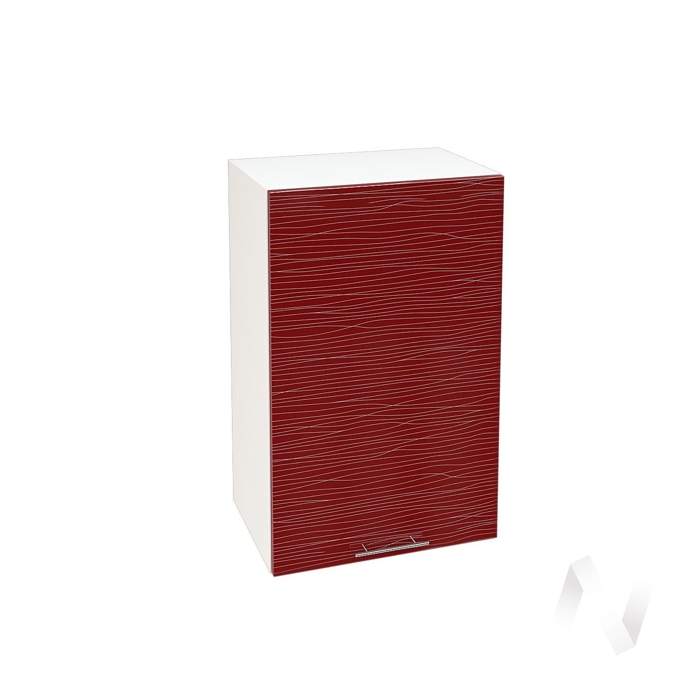 """Кухня """"Валерия-М"""": Шкаф верхний 450, ШВ 450 (Страйп красный/корпус белый)"""