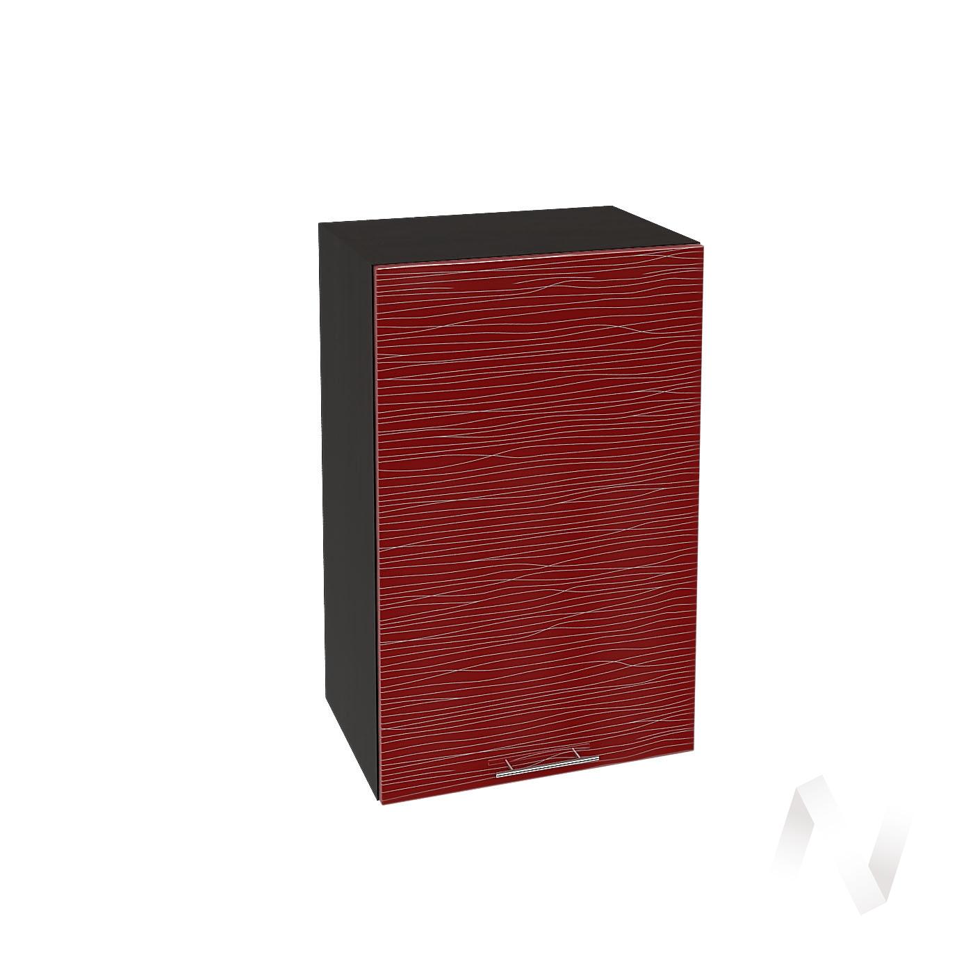 """Кухня """"Валерия-М"""": Шкаф верхний 450, ШВ 450 (Страйп красный/корпус венге)"""