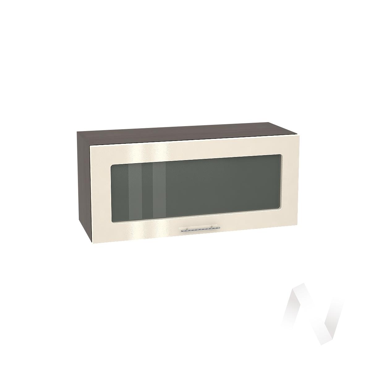 """Кухня """"Валерия-М"""": Шкаф верхний горизонтальный со стеклом 800, ШВГС 800 (Ваниль глянец/корпус венге)"""