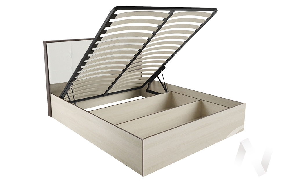 """Кровать """"ЛК-2 1,4"""" Ортопед с подъёмным механизмом (Дуб сонома/Экокожа милк)"""