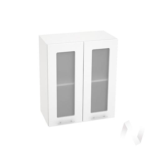 "Кухня ""Валерия-М"": Шкаф верхний со стеклом 600, ШВС 600 (белый металлик/корпус белый)"