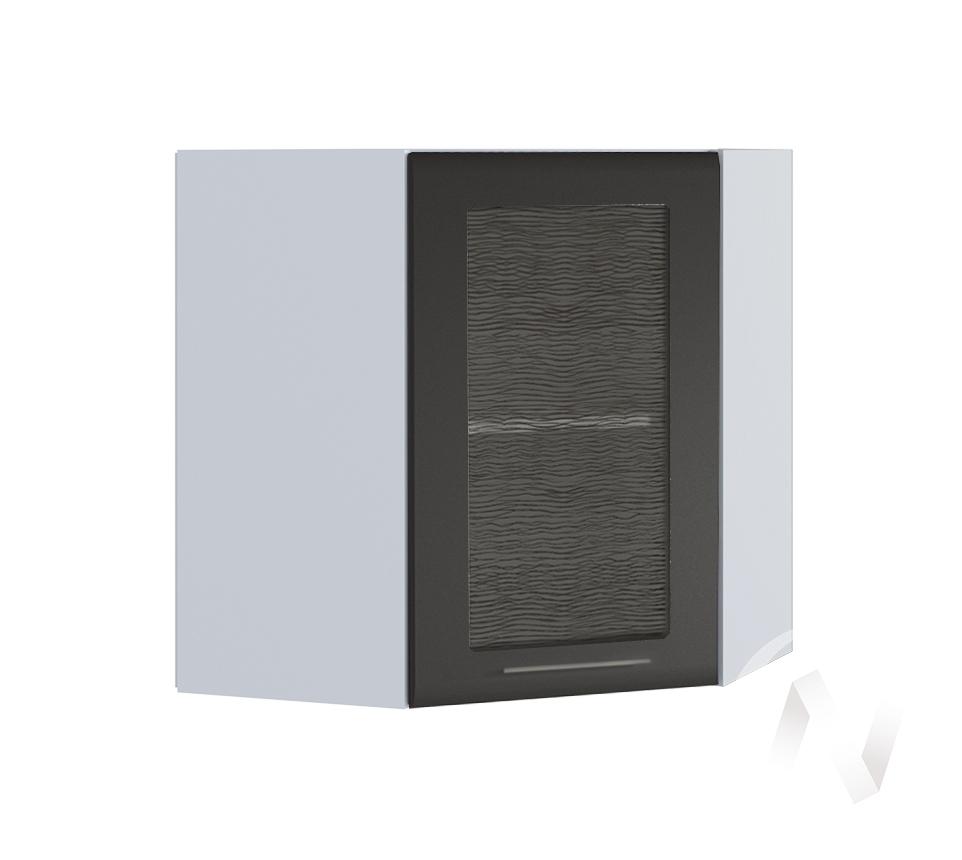 """Кухня """"Люкс"""": Шкаф верхний угловой со стеклом 590, ШВУС 590 (Шелк венге/корпус белый)"""