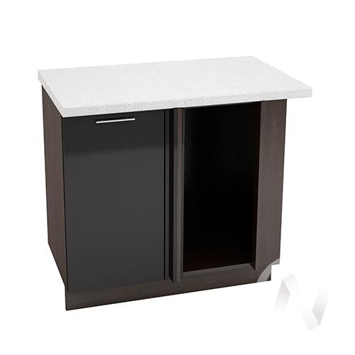 """Кухня """"Валерия-М"""": Шкаф нижний угловой 990М, ШНУ 990М (черный металлик/корпус венге)"""