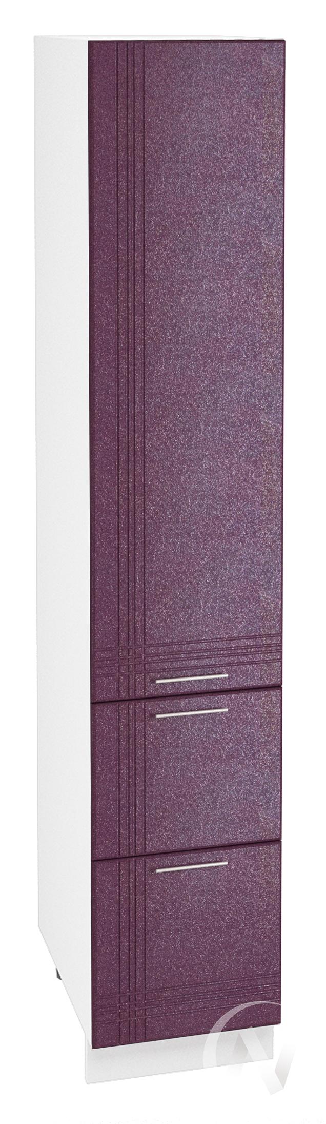 """Кухня """"Струна"""": Шкаф пенал с 2-мя ящиками 400, ШП2Я 400 (фиолетовый металлик/корпус белый)"""