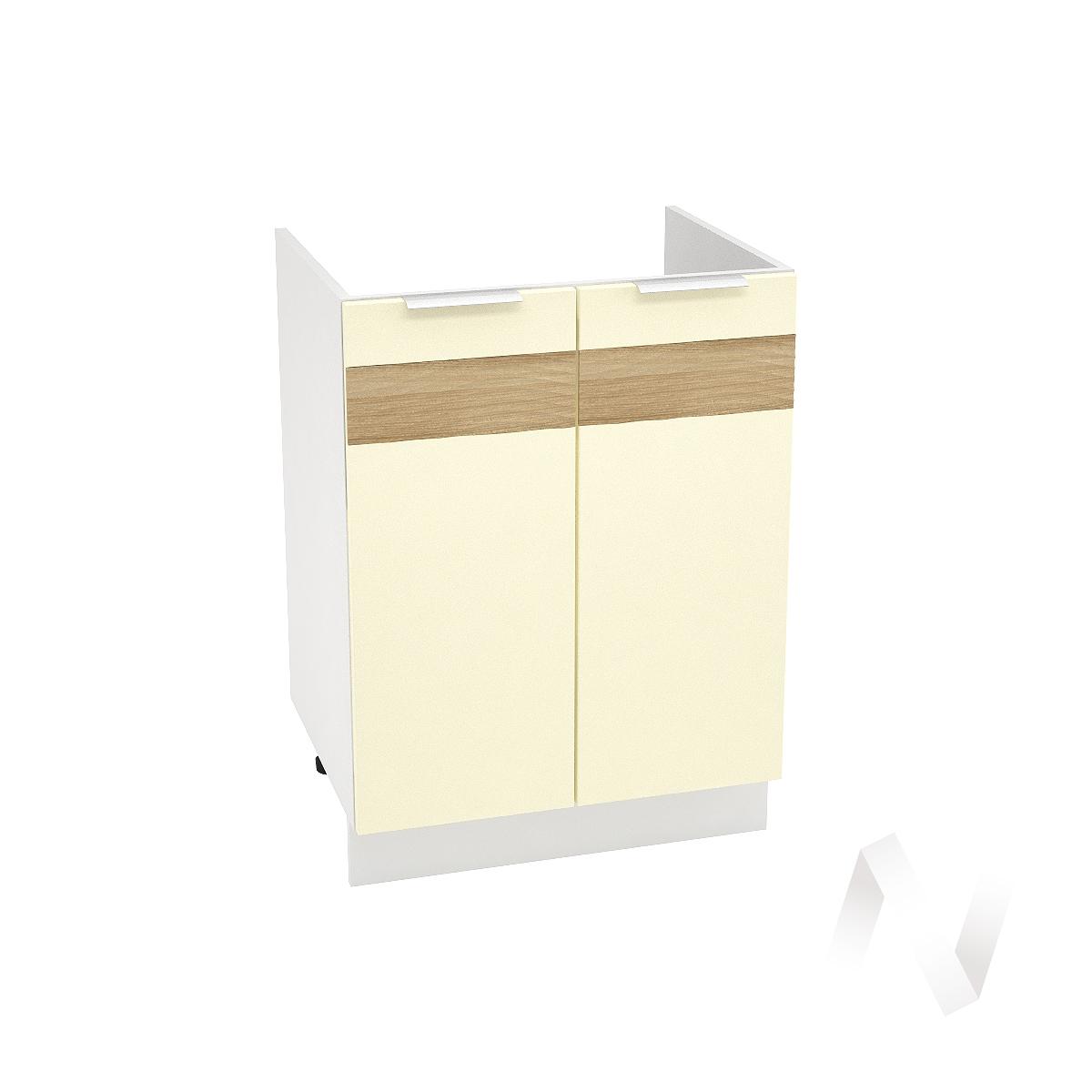 """Кухня """"Терра"""": Шкаф нижний под мойку 600, ШНМ 600 (ваниль софт/корпус белый)"""