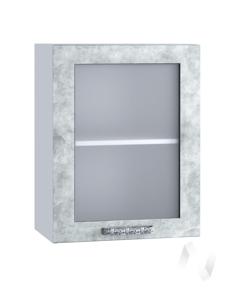 "Кухня ""Лофт"": Шкаф верхний со стеклом 500, ШВС 500 (Бетон серый/корпус белый)"