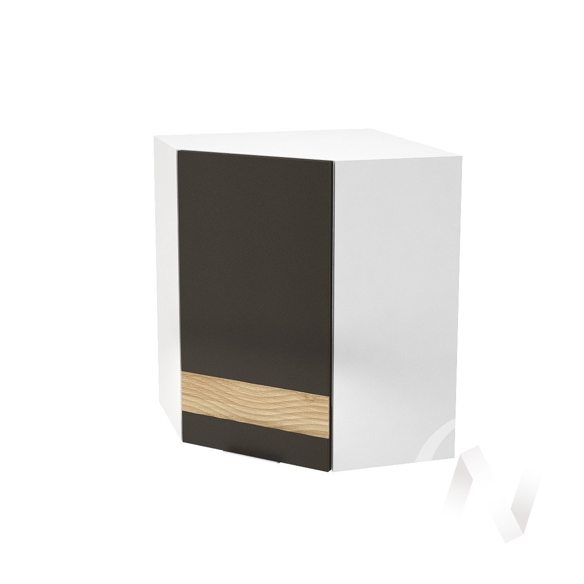 """Кухня """"Терра"""": Шкаф верхний угловой левый 590, ШВУ 590 (смоки софт/ель карпатская/корпус белый)"""