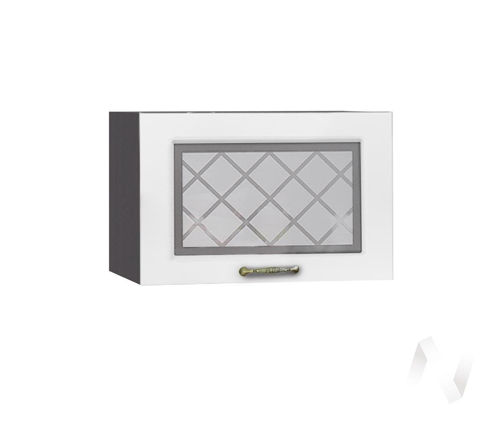 """Кухня """"Селена"""": Шкаф верхний горизонтальный со стеклом 500, ШВГС 500 (Дуб белый/корпус венге)"""