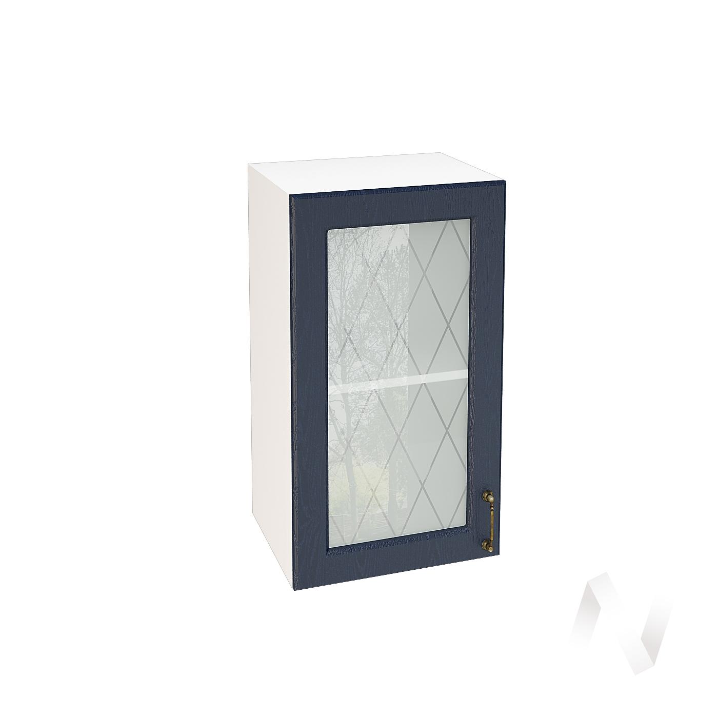 """Кухня """"Ницца"""": Шкаф верхний со стеклом 400, ШВС 400 (Дуб чернильный/корпус белый)"""