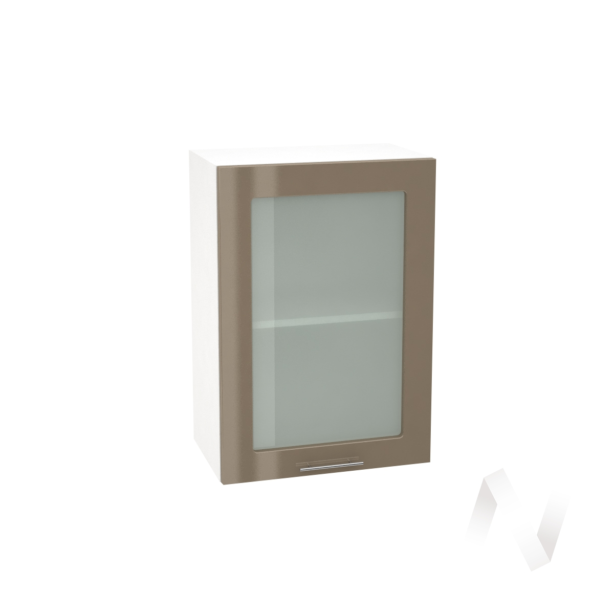 """Кухня """"Валерия-М"""":Шкаф верхний со стеклом 500,ШВС 500 (Капучино глянец/корпус белый)"""