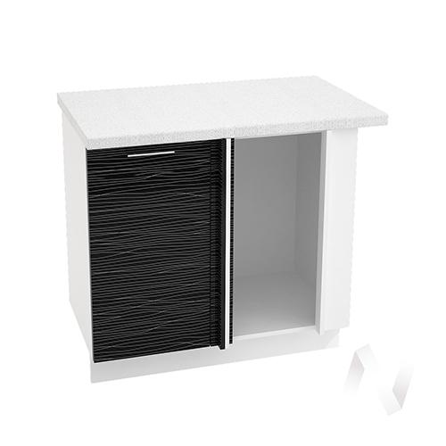 """Кухня """"Валерия-М"""": Шкаф нижний угловой 990М, ШНУ 990М (Страйп черный/корпус белый)"""