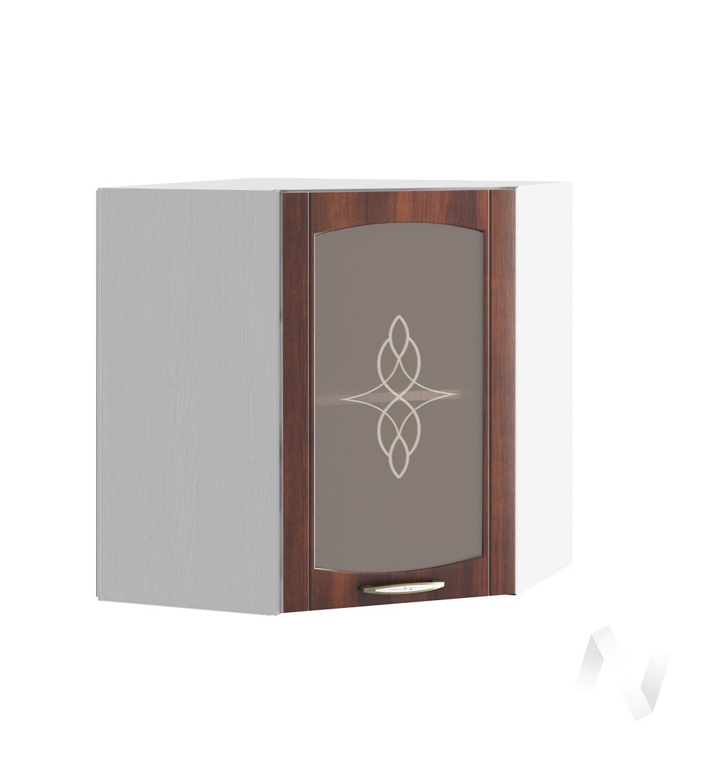 """Кухня """"Неаполь"""": Шкаф верхний угловой со стеклом 590, ШВУС 590 (Италия/корпус белый)"""