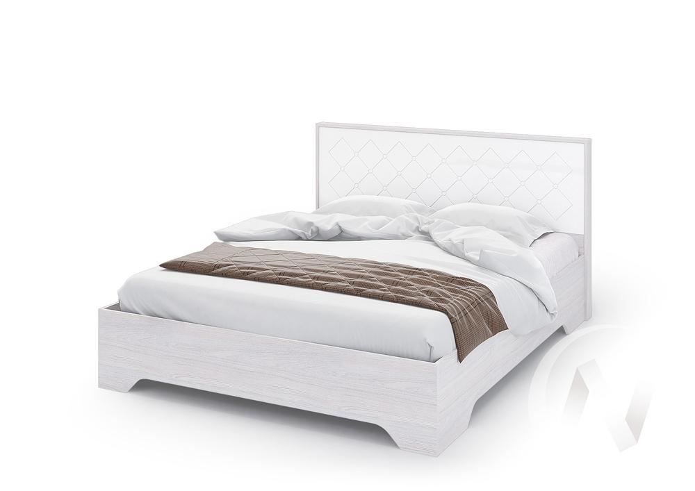 Кровать 1,4м без ортопеда КР 021 Спальня Сальма (анкор/белый глянец)