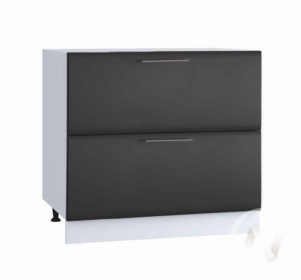 """Кухня """"Люкс"""": Шкаф нижний с 2-мя ящиками 800, ШН2Я 800 (Шелк венге/корпус белый)"""