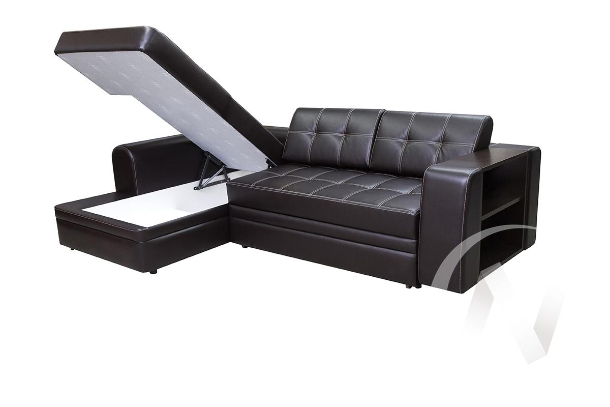 Диван угловой левый Леон (коричневый к.з)  в Томске — интернет магазин МИРА-мебель