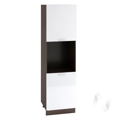 """Кухня """"Валерия-М"""": Шкаф пенал 600, ШП 600 (белый металлик/корпус венге)"""