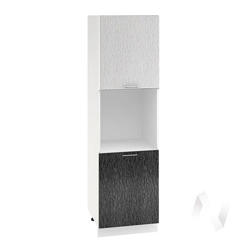 "Кухня ""Валерия-М"": Шкаф пенал 600, ШП 600 (дождь серый/черный/корпус белый)"