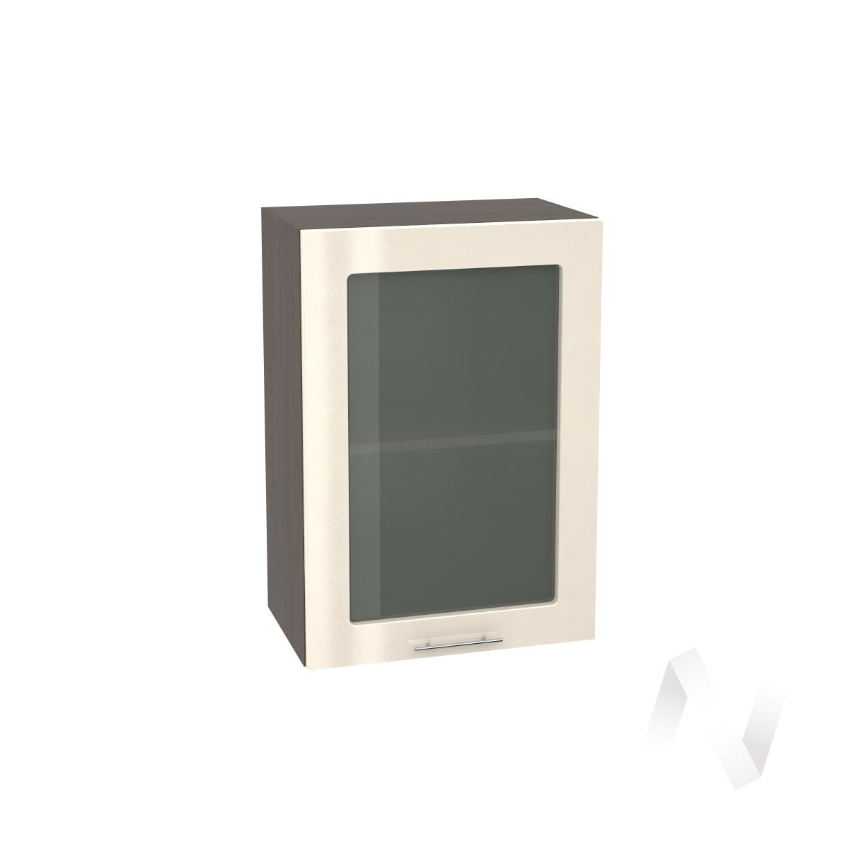 """Кухня """"Валерия-М"""": Шкаф верхний со стеклом 500, ШВС 500 (Ваниль глянец/корпус венге)"""