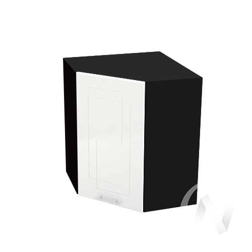 """Кухня """"Вега"""": Шкаф верхний угловой 590, ШВУ 590 (белый металлик/корпус венге)"""