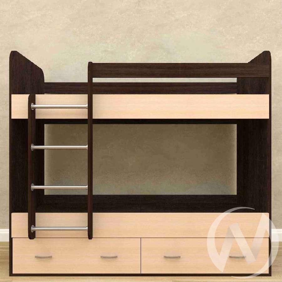 Кровать 2-х ярусная с ящиками б/м (венге тёмный-дуб выбеленный)
