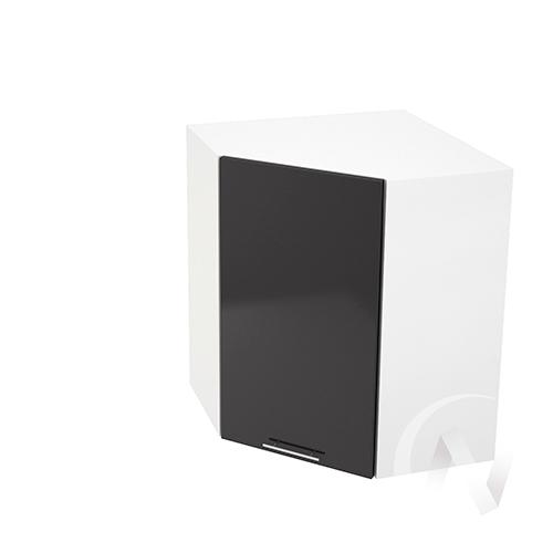 """Кухня """"Валерия-М"""": Шкаф верхний угловой 590, ШВУ 590 (черный металлик/корпус белый)"""