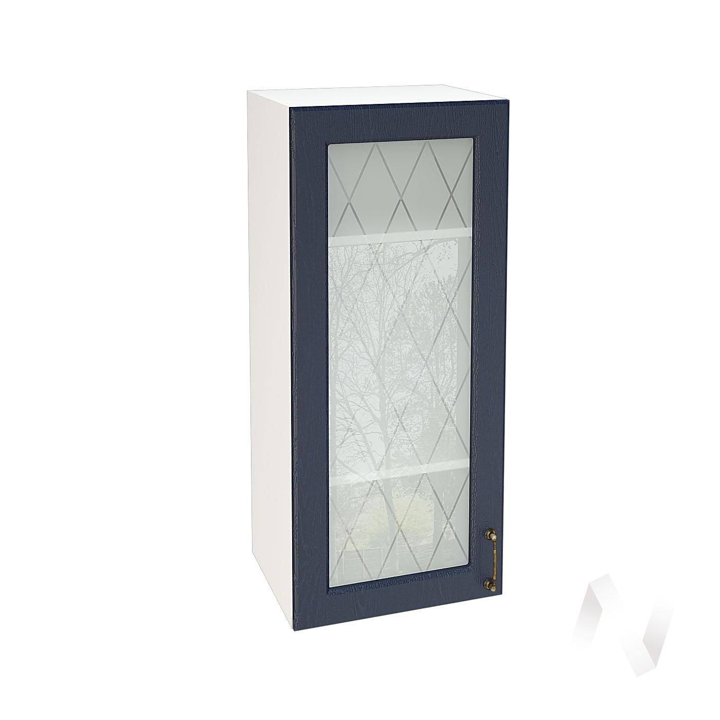 """Кухня """"Ницца"""": Шкаф верхний со стеклом 409, ШВС 409 (Дуб чернильный/корпус белый)"""