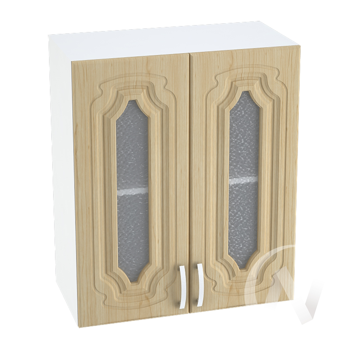"""Кухня """"Настя"""": Шкаф верхний со стеклом 600, ШВС 600 (Береза/корпус белый)"""