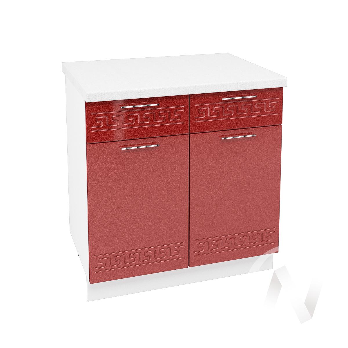 """Кухня """"Греция"""": Шкаф нижний с ящиками 800, ШН1Я 800 (гранатовый металлик/корпус белый)"""