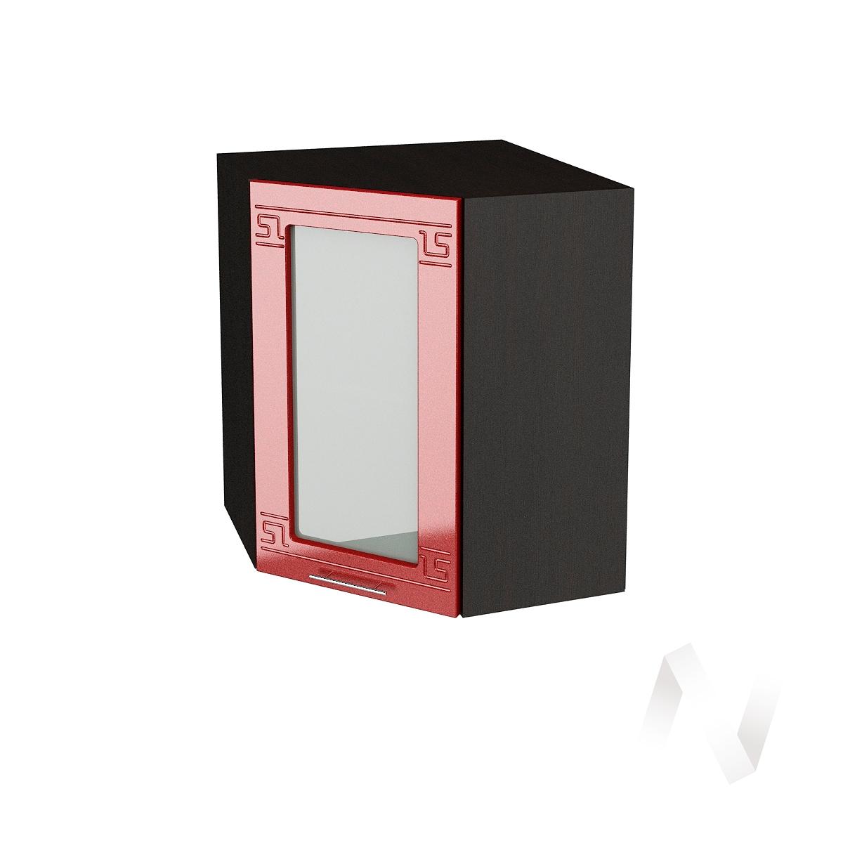 """Кухня """"Греция"""": Шкаф верхний угловой со стеклом 590, ШВУС 590 (гранат. металлик/корпус венге)"""