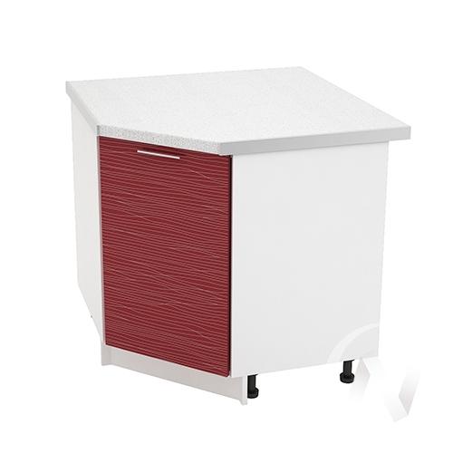 """Кухня """"Валерия-М"""": Шкаф нижний угловой 890, ШНУ 890 (Страйп красный/корпус белый)"""
